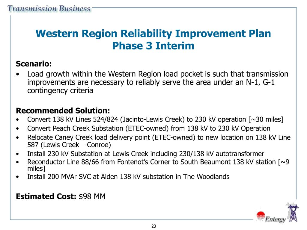Western Region Reliability Improvement Plan