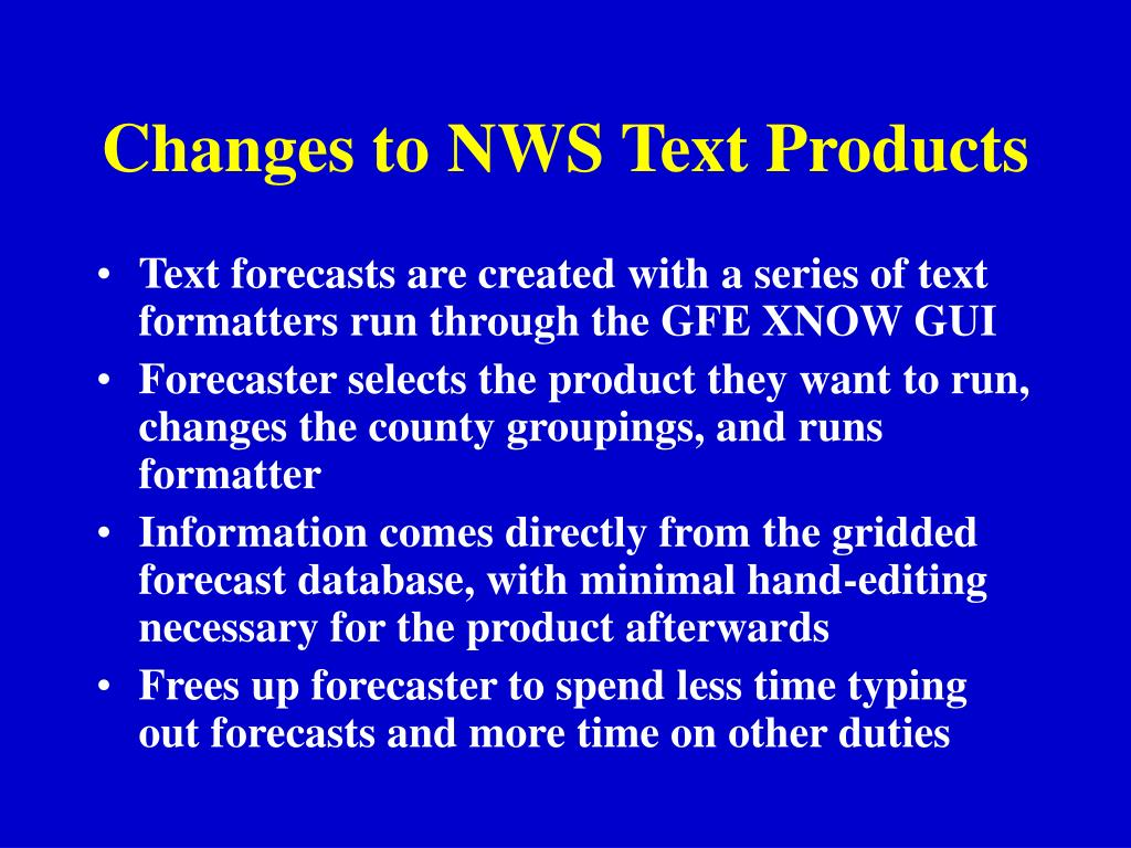 Changes to NWS Text Products