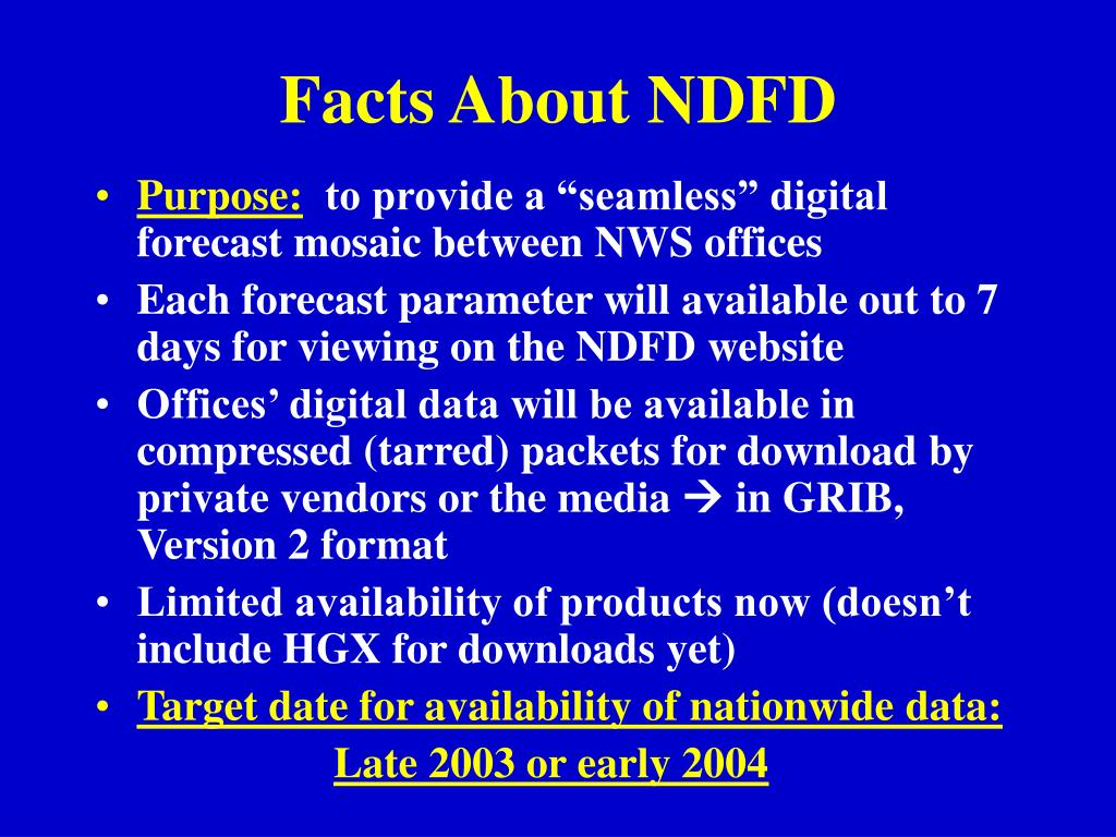 Facts About NDFD
