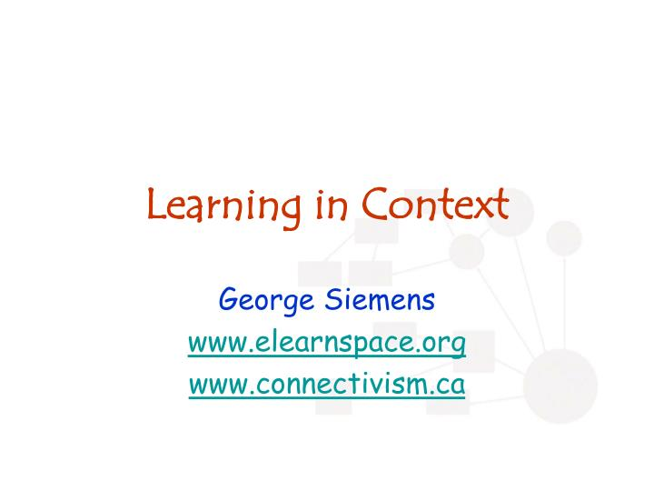learning in context n.