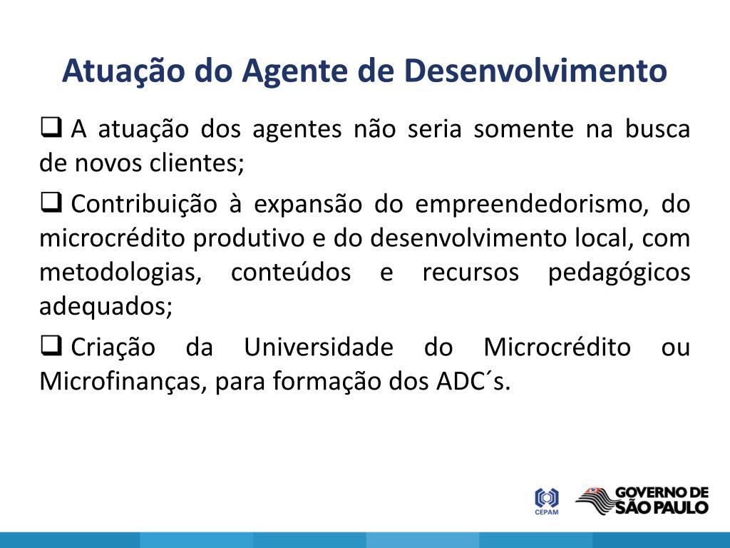 Atuação do Agente de Desenvolvimento
