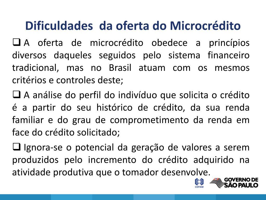 Dificuldades  da oferta do Microcrédito