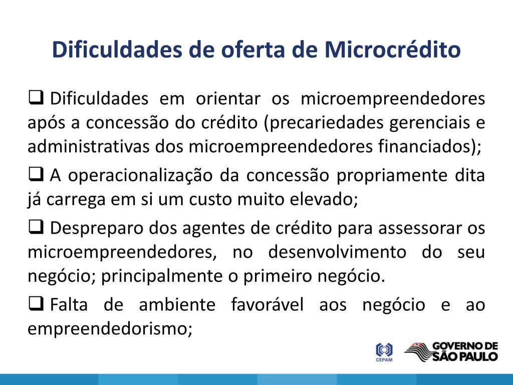 Dificuldades de oferta de Microcrédito