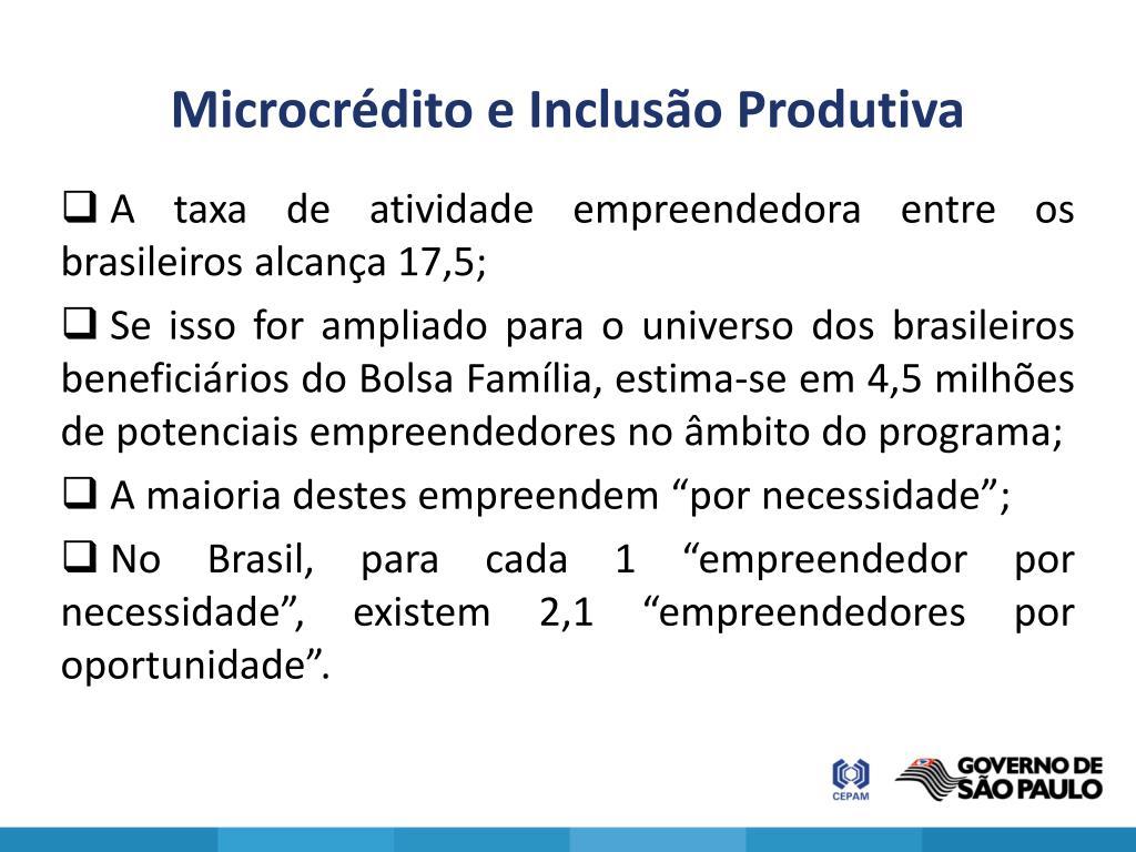 Microcrédito e Inclusão Produtiva