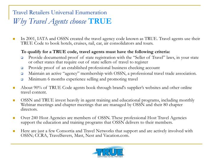 Travel retailers universal enumeration why travel agents choose true