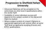 progression to sheffield hallam university