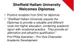 sheffield hallam university welcomes diplomas