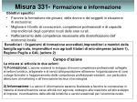 misura 331 formazione e informazione