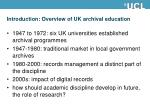 introduction overview of uk archival education