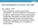 university diplomas in archives 1947 19809