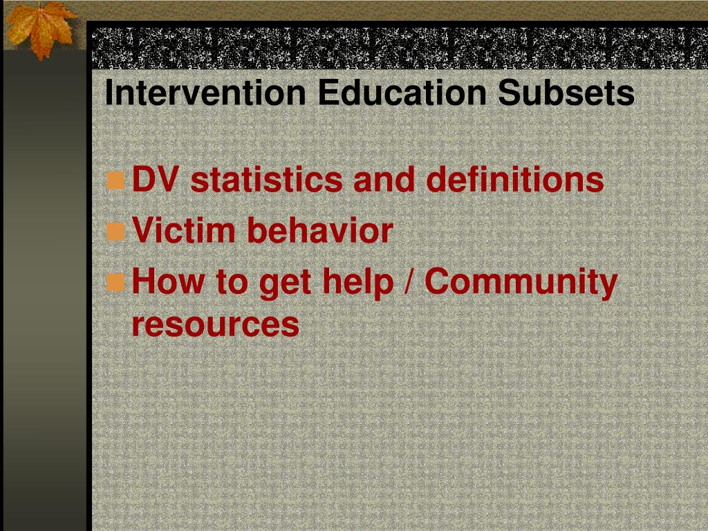 Intervention Education Subsets
