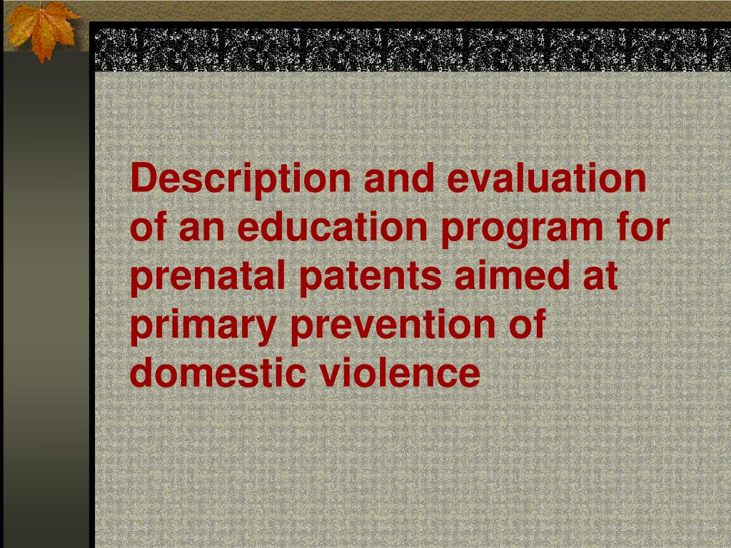 Description and evaluation of an education program for prenatal patents aimed at primary prevention of domestic violence