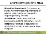greenfield investment vs m as