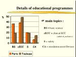 details of educational programmes
