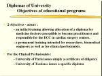 diplomas of university objectives of educational programs