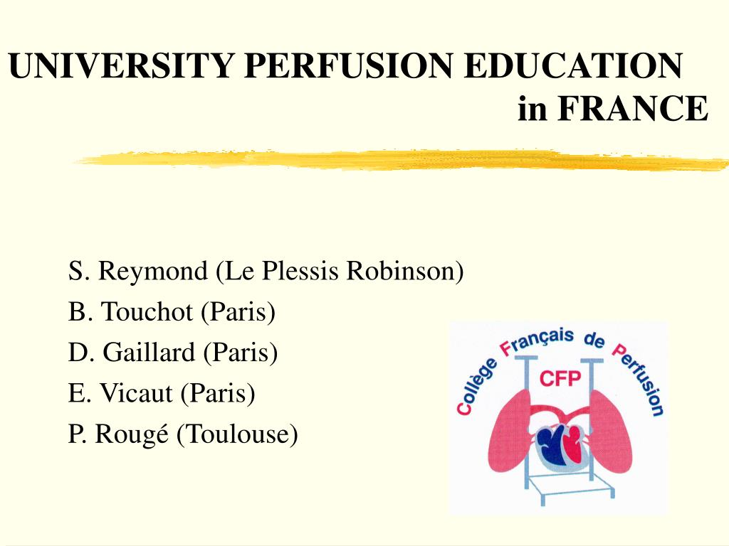 Ppt University Perfusion Education In France Powerpoint