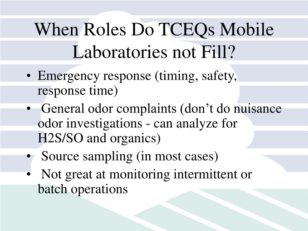 When Roles Do TCEQs Mobile Laboratories not Fill?