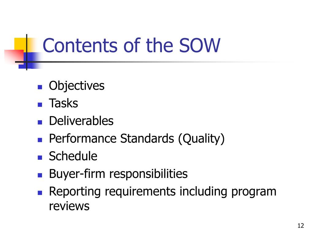 Contents of the SOW