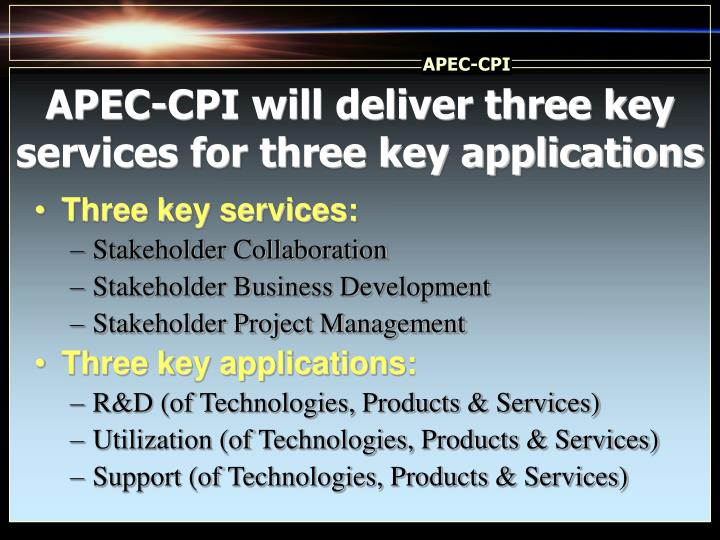 APEC-CPI will deliver three key services for three key applications