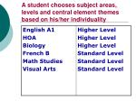 a student chooses subject areas levels and central element themes based on his her individuality