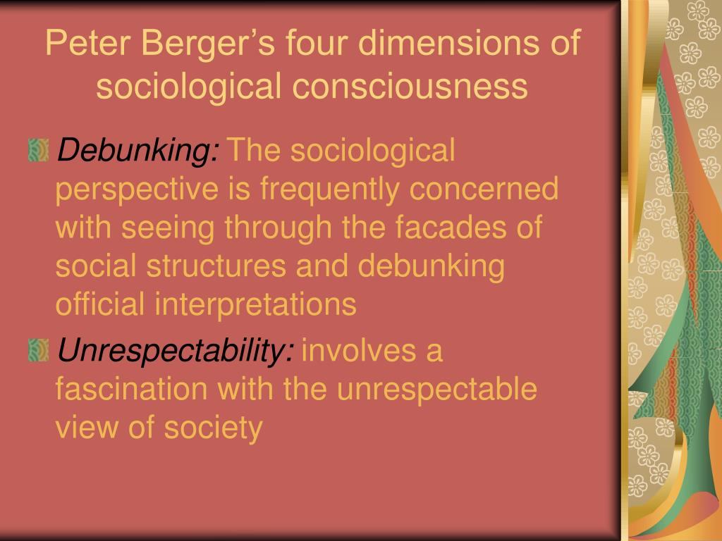 Peter Berger's four dimensions of sociological consciousness