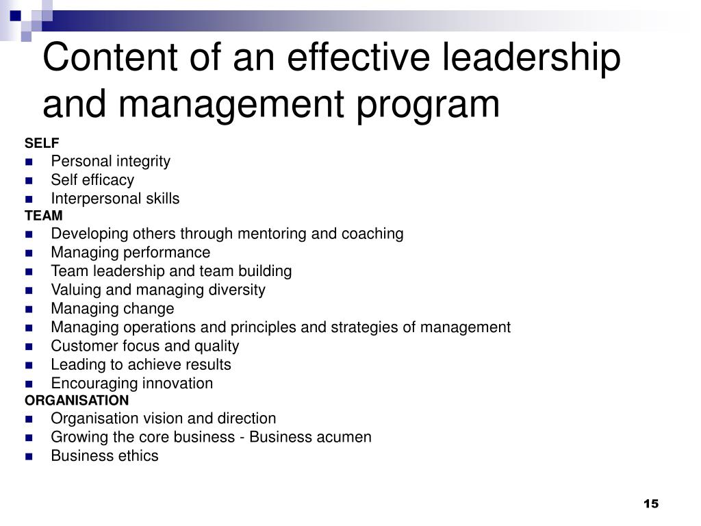 Content of an effective leadership and management program
