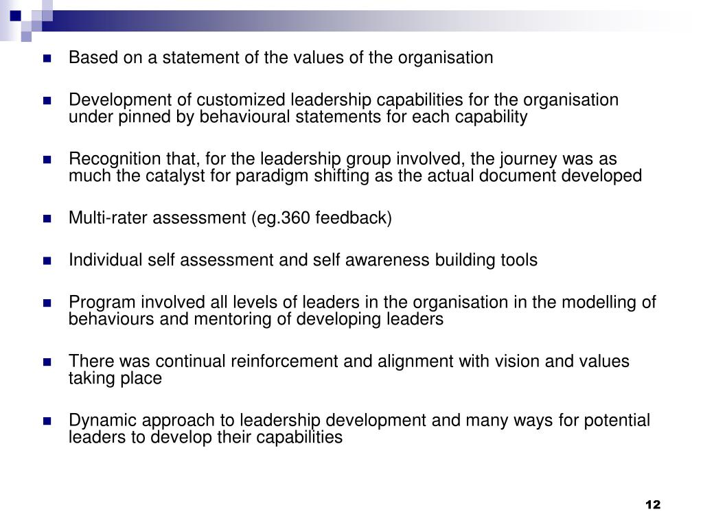Based on a statement of the values of the organisation