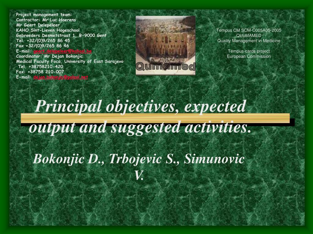 principal objectives expected output and suggested activities l.