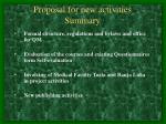 proposal for new activities summary