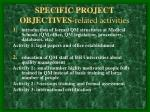 specific project objectives related activities