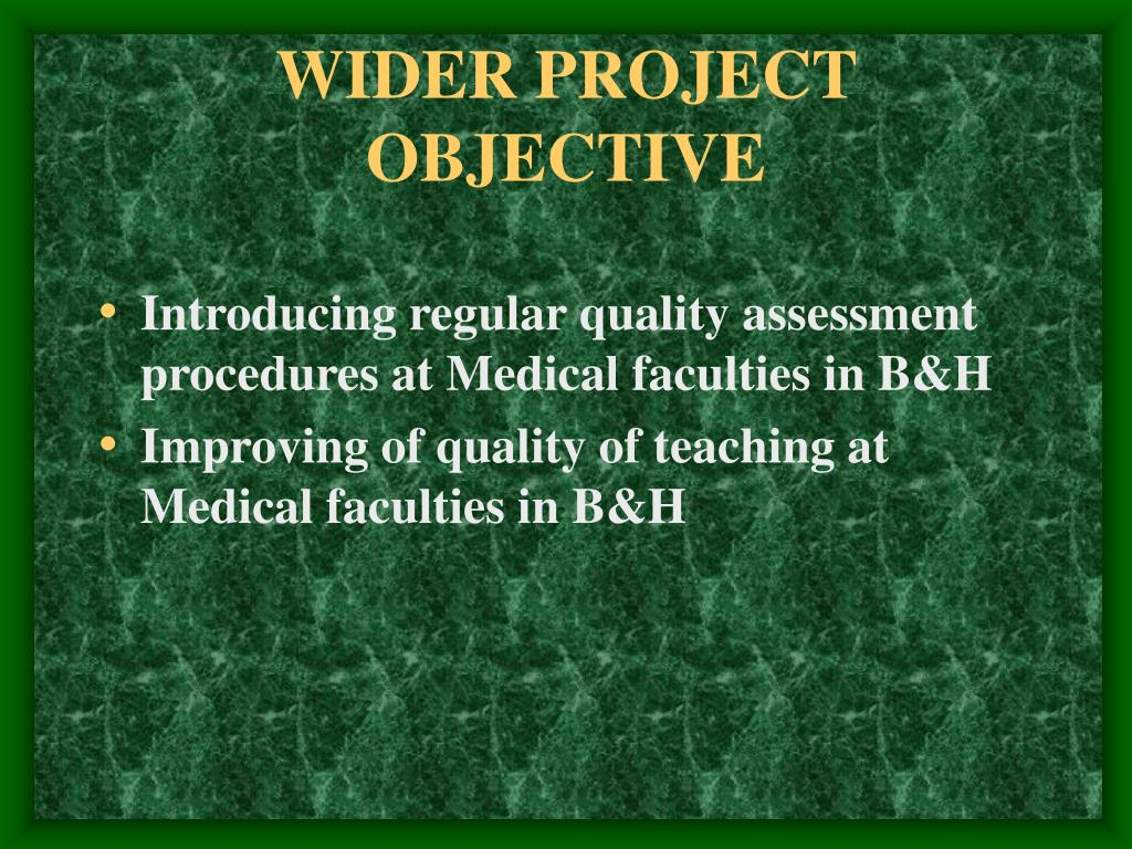 WIDER PROJECT OBJECTIVE