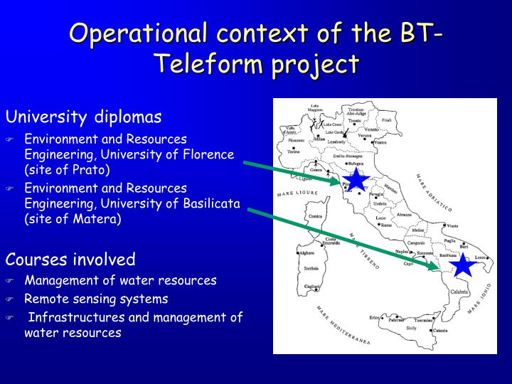 Operational context of the bt teleform project