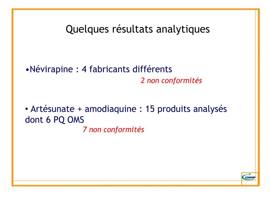 Quelques résultats analytiques