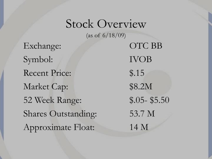 Stock overview as of 6 18 09