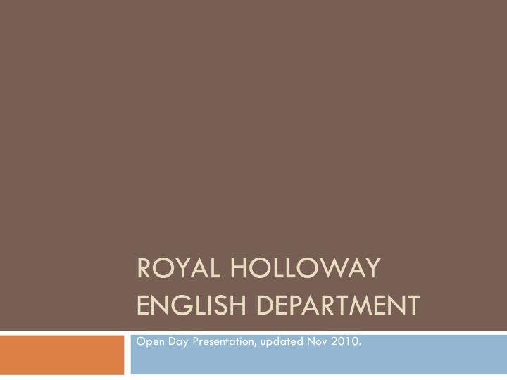 royal holloway english department n.
