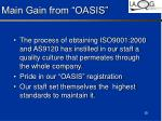 main gain from oasis