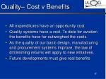 quality cost v benefits