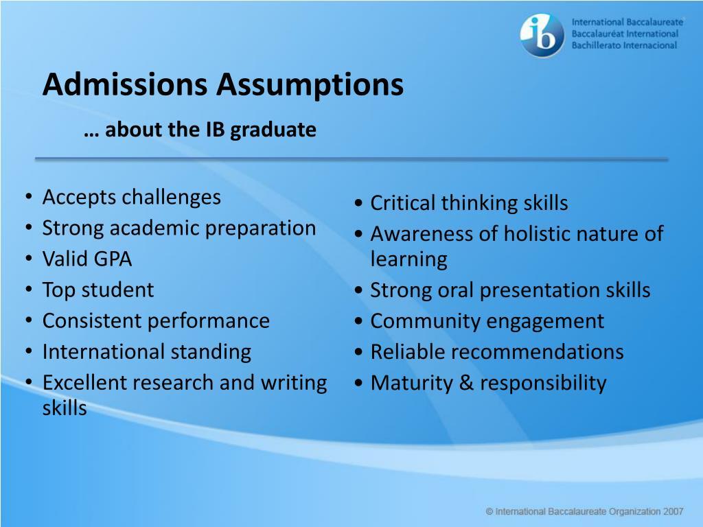 Admissions Assumptions