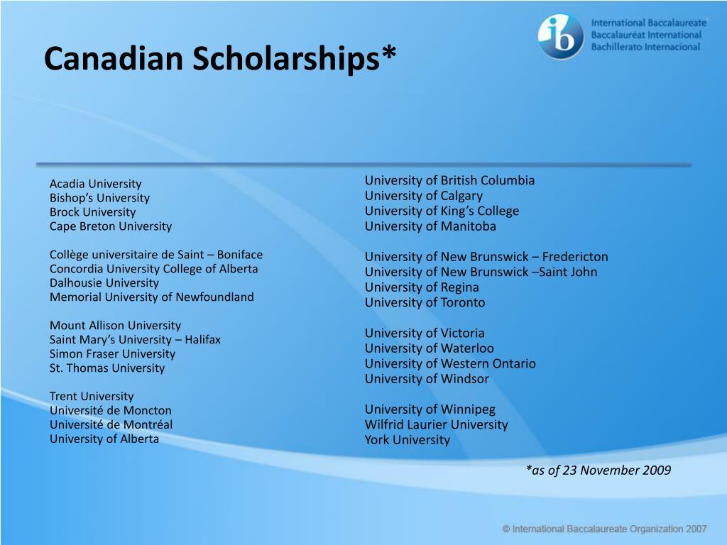 Canadian Scholarships*