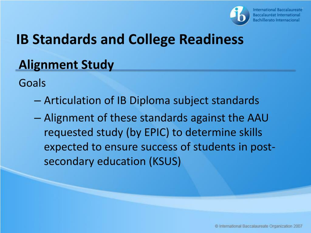 IB Standards and College Readiness