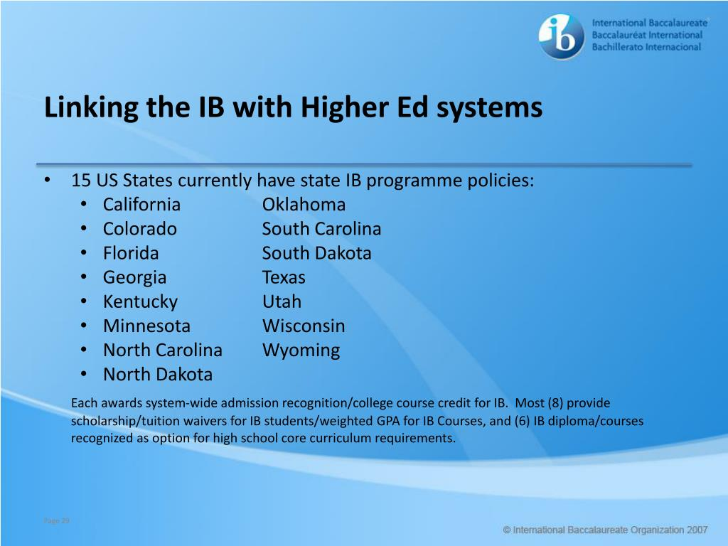 Linking the IB with Higher Ed systems