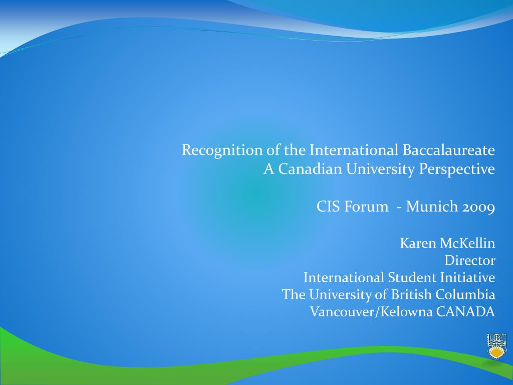 Recognition of the International Baccalaureate