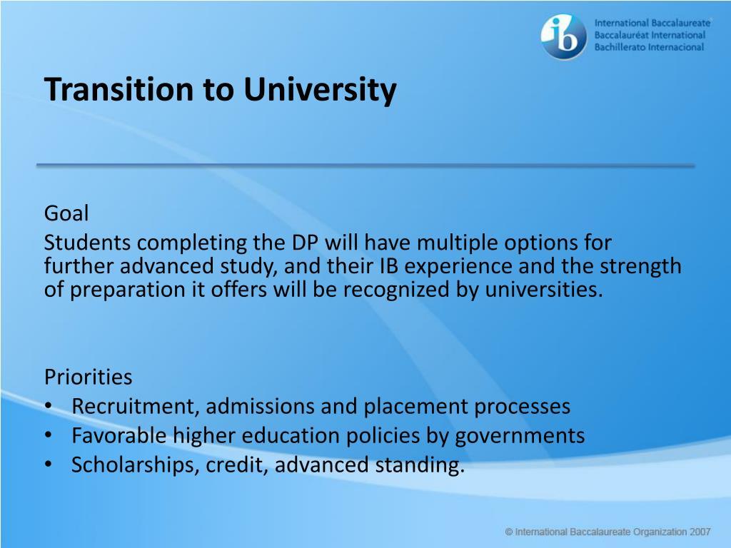 Transition to University