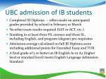 ubc admission of ib students