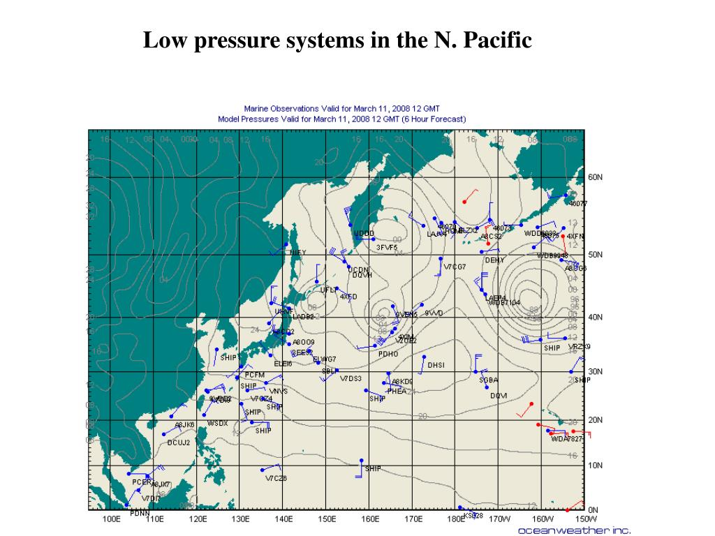 Low pressure systems in the N. Pacific