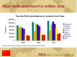 most outbound travel is within asia