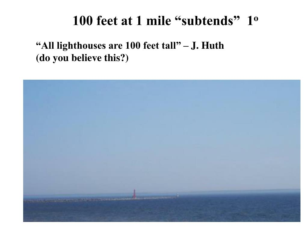 "100 feet at 1 mile ""subtends""  1"