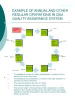 example of annual and other regular operations in cbu quality assurance system