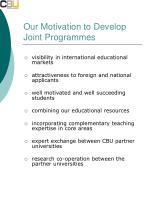our motivation to develop joint programmes