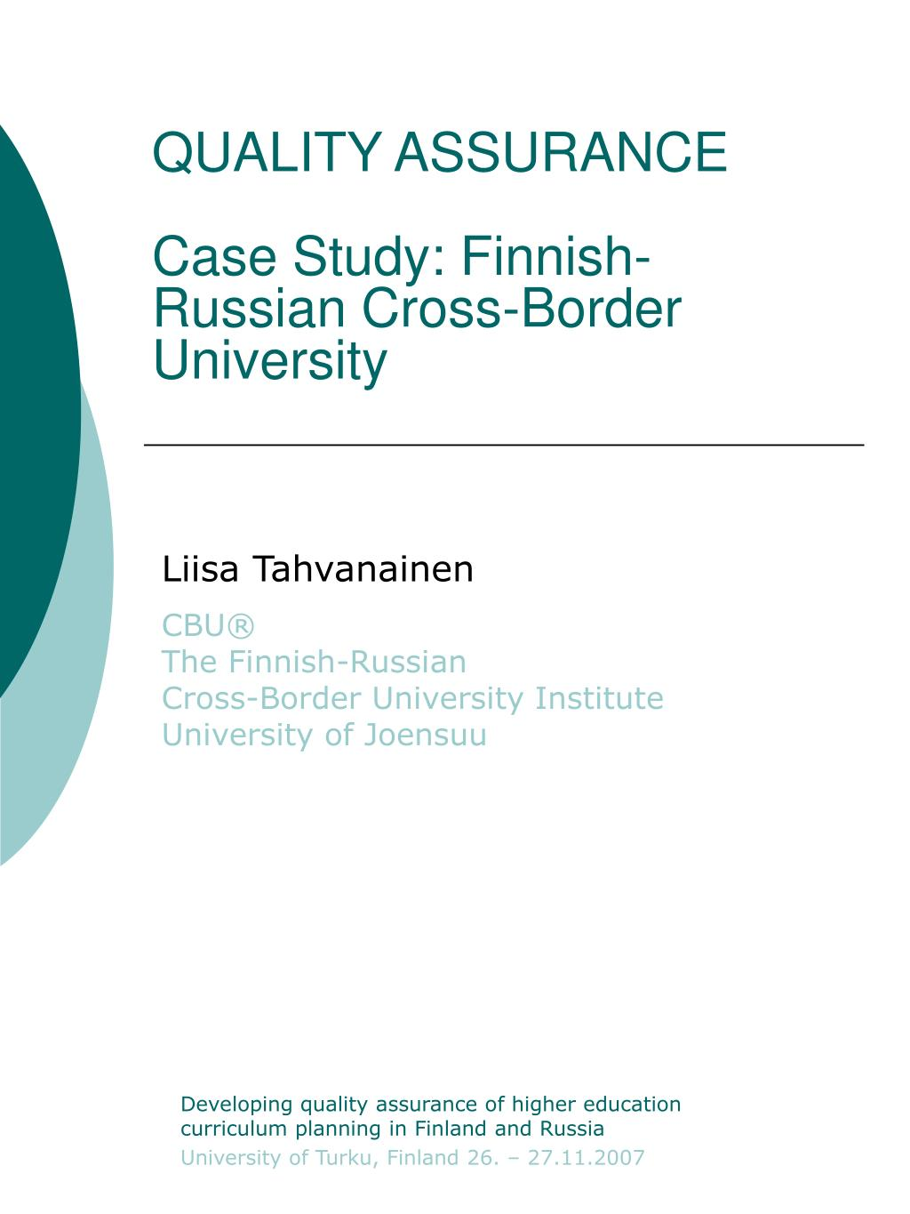quality assurance case study finnish russian cross border university l.